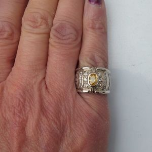 Jewelry - Yellow Citrine Wide Band Silver Ring Size 5